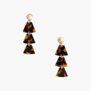 J.CREW Tortoise Triangle Statement Earrings